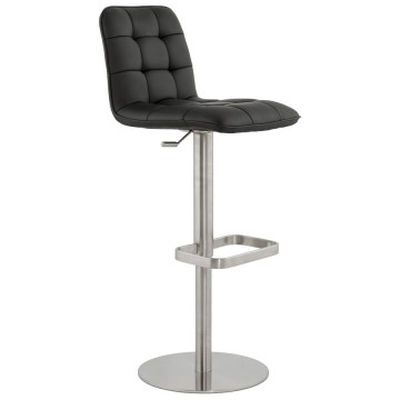 Adjustable black and padded bar stool SALAMANCA