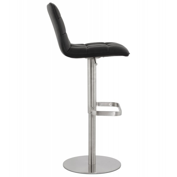 Upholstered Black Bar Stool With Imitation Leather Seat And Brushed Metal Leg Salamanca