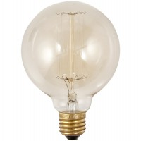 Vintage filament bulb with screw socket, round, small format