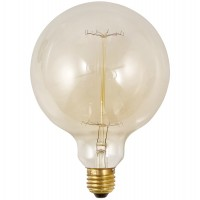 Vintage filament bulb with screw socket, round