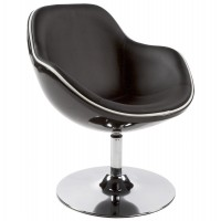 Black polymer armchair with padded black imitation leather seat