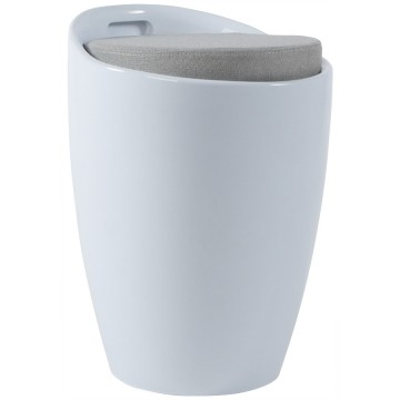 WHITE Low stool with storage compartment ESE