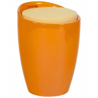 Orange low stool, pouffe style, in Polymer (ABS), with storage compartment