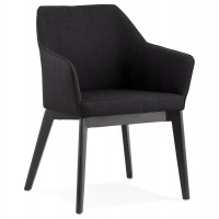 Black designed and upholstered chair with armrests and textile lining TAKION