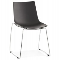 Stackable black propylene chair fixed on a chrome-plated metal structure