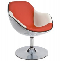 White polymer armchair with padded red imitation leather seat and white armrest