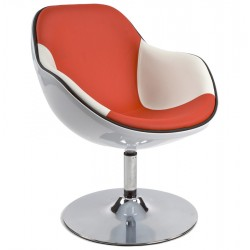 Contemporary lounge armchair DAYTONA (WHITE / RED)