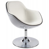 White polymer armchair with padded white imitation leather seat