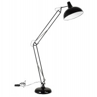 Adjustable and reclining black floor lamp with metal shade and metal foot PIX