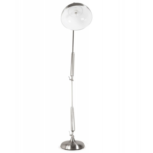 ... Adjustable And Reclining Brushed Steel Floor Lamp With Metal Shade And  Metal Foot PIX ...