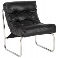 Black upholstered imitation leather armchair with chromed metal frame