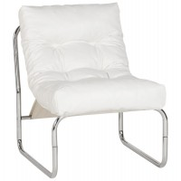 White upholstered imitation leather armchair with chromed metal frame