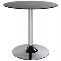 Design coffee table, black and circular, with chromed metal base and tempered glass top VINYL