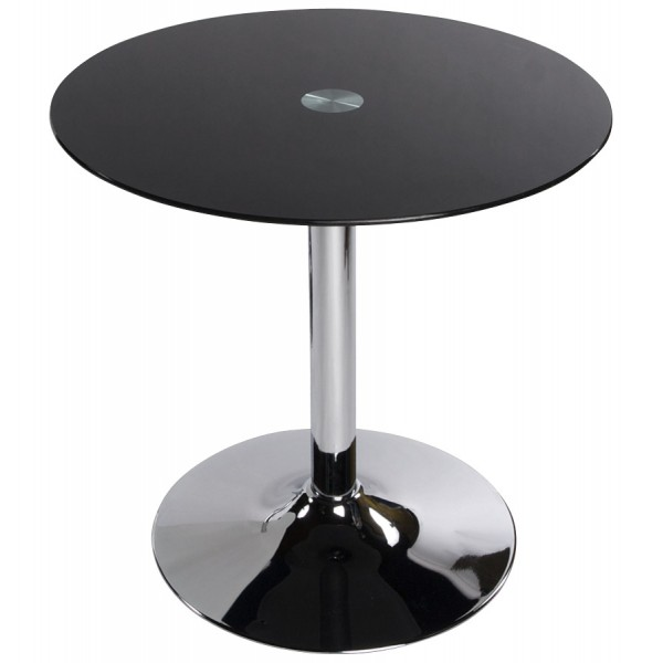 table basse ronde avec plateau en verre tremp vinyl noir vistadeco. Black Bedroom Furniture Sets. Home Design Ideas