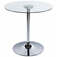 Design coffee table, clear and circular, with chromed metal base and tempered glass top VINYL