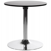 Round black coffee table with ABS top and chromed metal base MARS