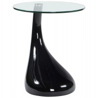 Black coffee table or side table with glass top and original leg TEAR