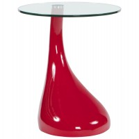 Red coffee table or side table with glass top and original leg TEAR