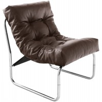 Brown upholstered imitation leather armchair with chromed metal frame