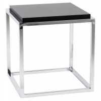 Black coffee or side table, cubic shape, with wooden top and feet in chromed metal KVADRA