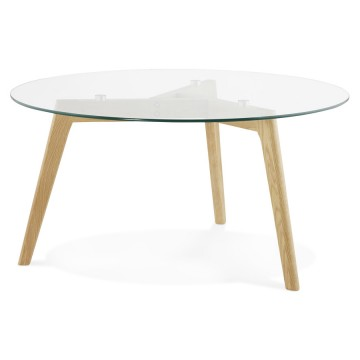 Scandinavian round coffee table with tempered glass top LILY