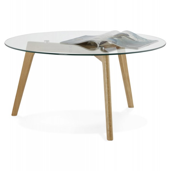 ... Scandinavian Design Round Coffee Table With Oak Legs And Tempered Glass  Top LILY ...
