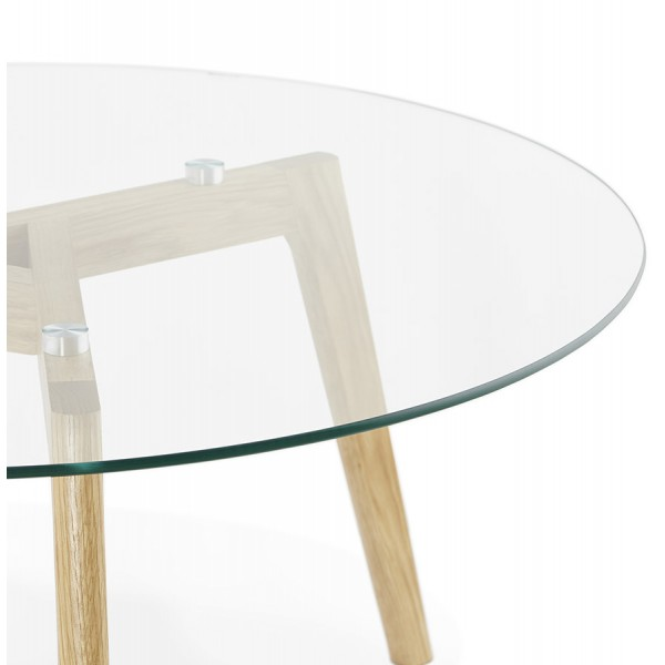 Scandinavian round coffee table with tempered glass top for Scandinavian design coffee table