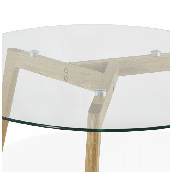 Scandinavian Design Round Coffee Table With Oak Legs And Tempered Glass Top Lily
