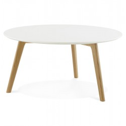 Table basse ronde style scandinave avec plateau en bois KINGSTON