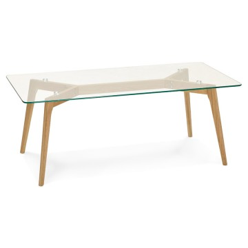 Scandinavian And Rectangular Coffee Table With Tempered Glass Top