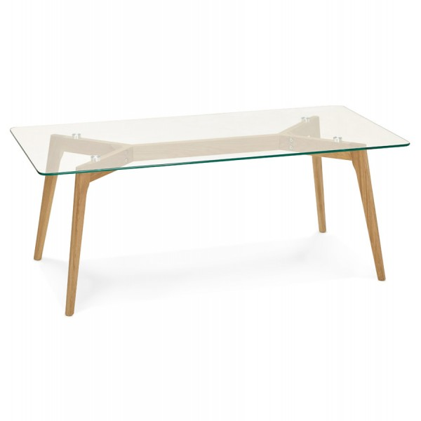 Table basse scandinave rectangulaire avec plateau en verre for Table basse scandinave avec plateau