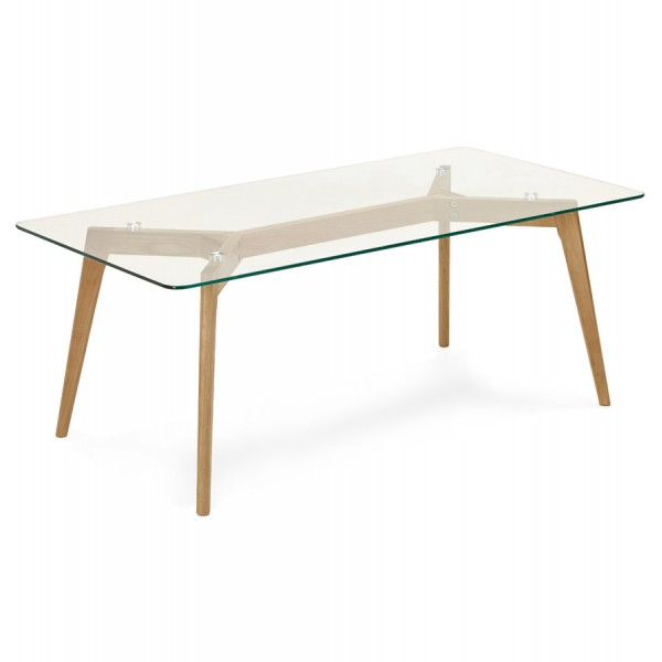Table basse scandinave rectangulaire avec plateau en verre for Table rectangulaire scandinave