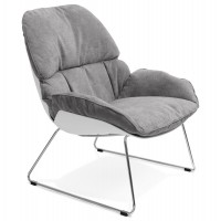 Light gray armchair upholstered in soft fabrics with robust propylene shell SELLA