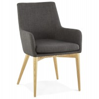 Scandinavian armchair in dark gray thick fabric and four legs in oak