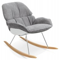 Light gray rocking chair in thick fabric, with solid beech wood feet POLOCHON