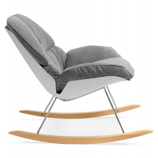 Fauteuil bascule tr s confortable polochon gris clair - Rocking chair confortable ...