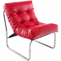 Red upholstered imitation leather armchair with chromed metal frame