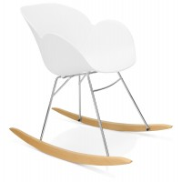 White rocking chair with solid propylene shell and solid beech wood legs KNEBEL