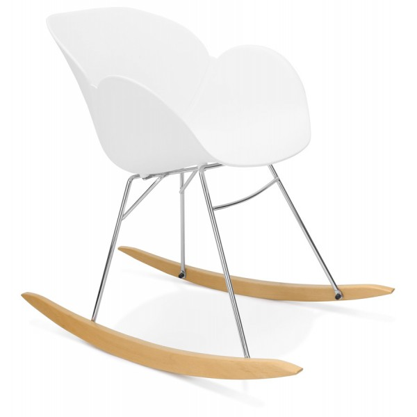 White rocking chair with solid propylene shell and solid beech wood legs KNEBEL ...  sc 1 st  Vistadeco & Comfortable rocking chair KNEBEL (WHITE) - Vistadeco