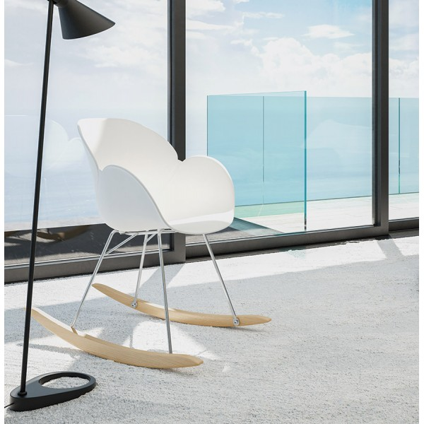 ... White Rocking Chair With Solid Propylene Shell And Solid Beech Wood Legs  KNEBEL. U2039 U203a