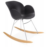 Black rocking chair with solid propylene shell and solid beech wood legs KNEBEL