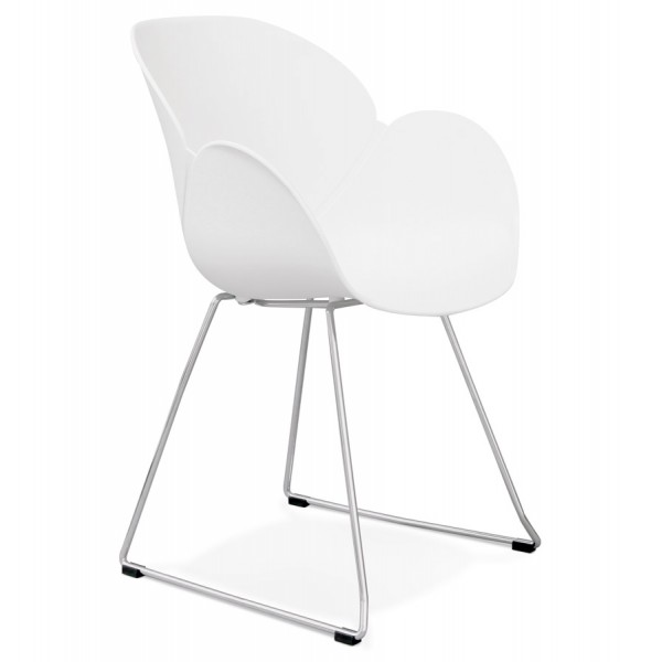 chaise blanche design et contemporaine avec pieds en mtal chrom testa - Chaise Contemporaine Design