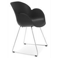 Black chair, design and contemporary, with chromed metal legs TESTA