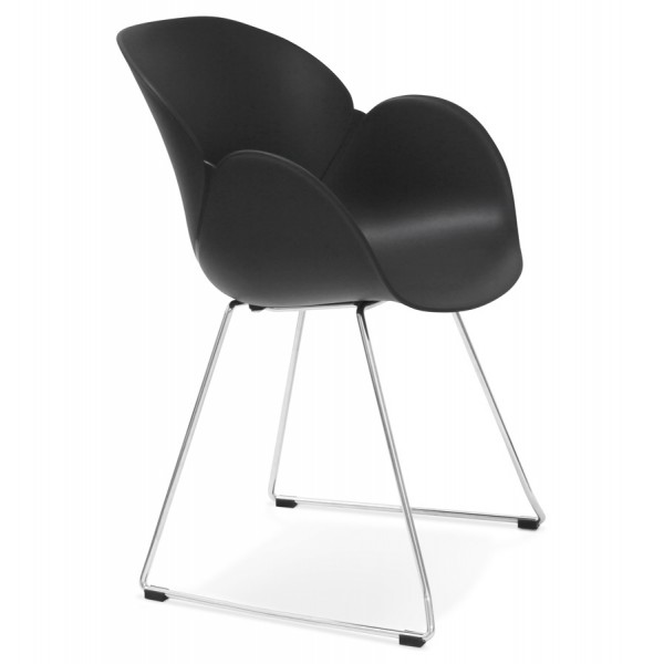 chaise noire design et contemporaine avec pieds en mtal chrom testa - Chaise Contemporaine Design