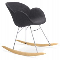 Dark gray rocking chair with solid propylene shell and solid beech wood legs