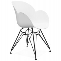 Design white chair with metal legs and highly resistant molded shell, made of propylene