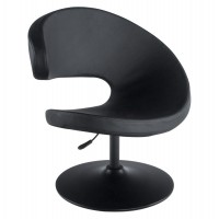 Design, rotatable and adjustable black armchair with padded seat