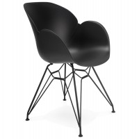 Design black chair with metal legs and highly resistant molded shell, made of propylene