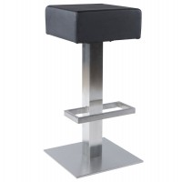 Black bar stool with comfortable leatherette seat and steel structure NOBLE