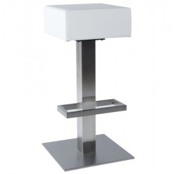 Design fixed and padded WHITE bar stool NOBLE